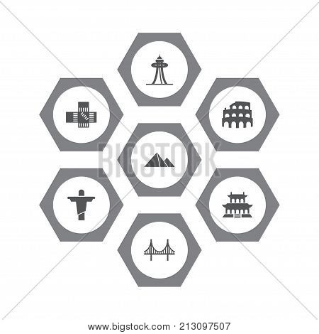 Collection Of Japan, Coliseum, Bridge And Other Elements.  Set Of 7 Landmarks Icons Set.