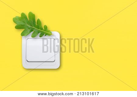 Light switch on yellow wall with green oak leaf. Energy saving concept.