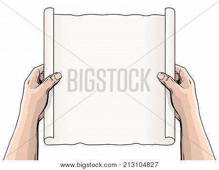Hands Unrolling a Document or Scroll is an illustration of someone holding an unrolled scroll or document. The scroll is blank so that you can add your own text or message