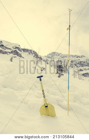 Avalanche shovel and probe. Back country safety equipment.