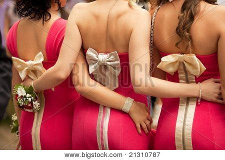 Rear view of bridesmaids with boutonnieres on their hands at wedding ceremony
