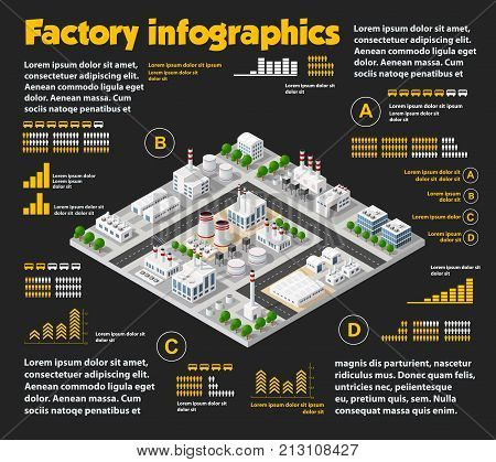 City isometric industrial factory infographics there are diagram building road plant transportation and works in the area of the town with business conceptual graphs and symbols