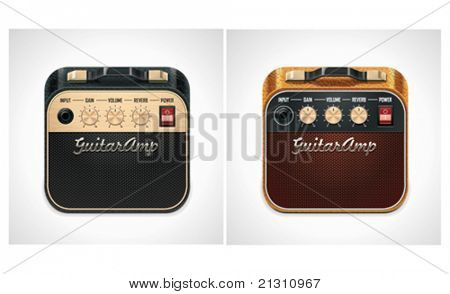Vector guitar amplifier square icon