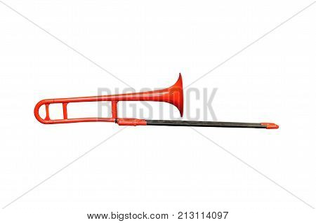 trombone trumpet music jazz red black white orchestra wind instruments musical instruments symphony Sakbut solo instrument plastic