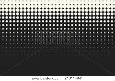 Halftone dots. Vector black and white circles halftone background. Geometric vintage monochrome fade wallpaper. MInimal abstract graphic backdrop. Pop art print. Dotted geometric retro pattern.