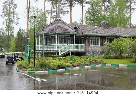 MOSCOW - JUN 05, 2017: The territory of the Moscow Country Club in rainy weather