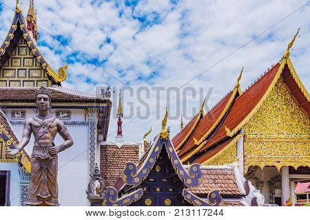 Buddhist temple architcture in Chiang Mai Thailand