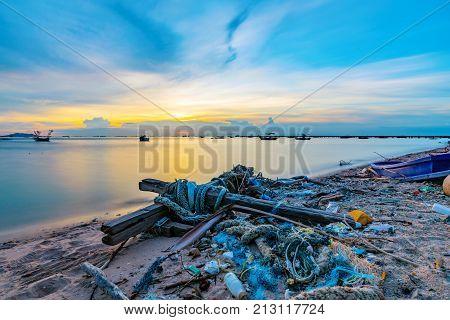 Evening view of a beach in Siracha Thailand