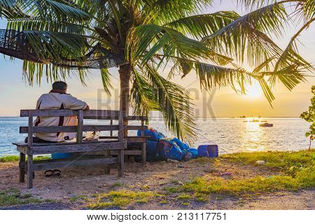 Sunset sea view and nature in Siracha Thailand