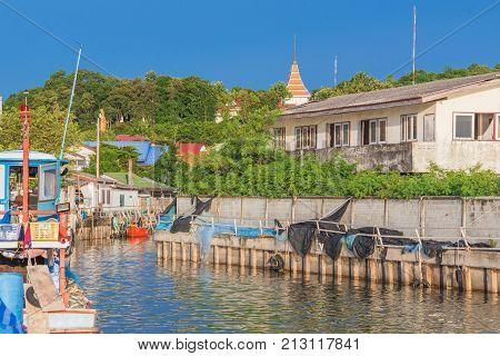 Siracha seaside town harbor scenery in Thailand