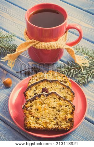 Vintage Photo, Cup Of Tea, Fresh Baked Homemade Fruitcake For Christmas And Spruce Branches
