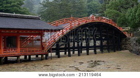 Bridge at the Itsukushima Shinto Shrine in Japan
