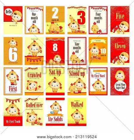 Baby boy with chicken costume milestone card