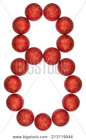 Numeral 8, Eight, From Decorative Balls, Isolated On White Background