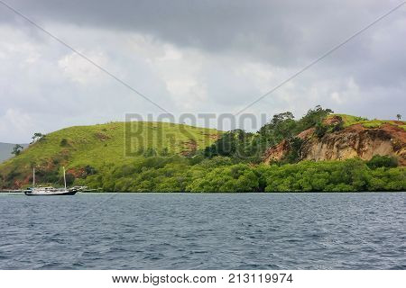 Coastline Of Rinca Island In Komodo National Park, Nusa Tenggara, Indonesia