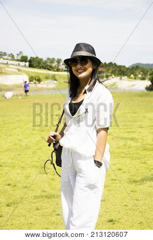 Thai Woman Travel And Posing For Take Photo At Chang Hua Man Royal Initiative And Agricultural Proje