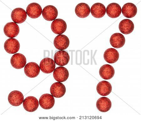 Numeral 97, Ninety Seven, From Decorative Balls, Isolated On White Background