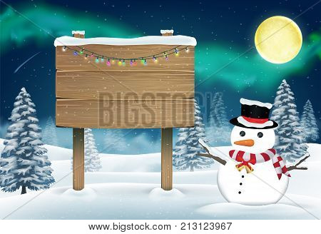 snowman and wood board sign in nigth winter forest