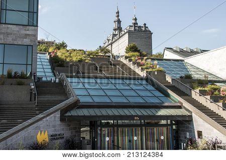 Entrance of Musee de la Civilisation Historic District of Quebec City is UNESCO World Heritage Site