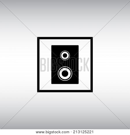 Speaker flat vector icon. Speaker isolated vector sign. Dynamic square vector symbol.