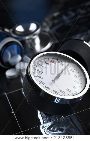 Medical items as a concept of diagnostics examination and treatment.