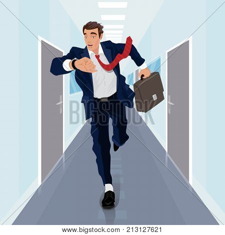 Businessman Runs Forward Along Corridor