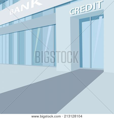 Exterior of the bank building facade with glass wall and door with inscription Credit. Three quarter view. Simplistic realistic comic art style
