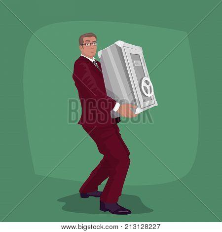 Happy Businessman Carry Steel Safe Deposit