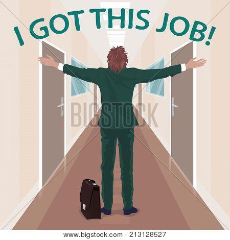 Happy New Employee Enjoys To Got Job