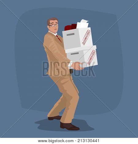 Unhappy Man Carry Boxes With Personal Belongings