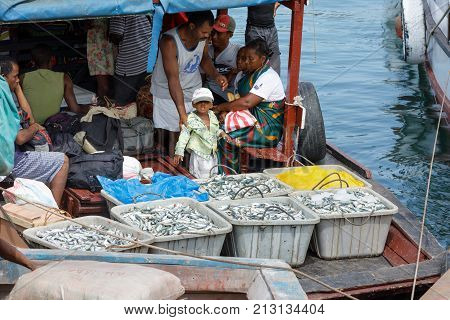 Malagasy Peoples On Loaded Ship In Nosy Be, Madagascar