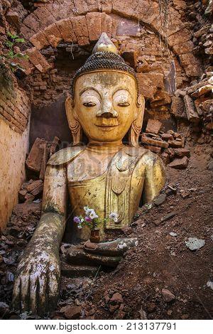 Buddha statue Shwe Inn Dain Pagoda complex in Indein village Inle Lake Myanmar (Burma)
