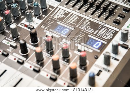 The Part Of Musical Amplifier Sound Amplifier Or Music Mixer With Knobs And Jack Holes