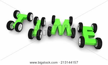 Time Passing By Cars Driving Fast Speed 3d Illustration