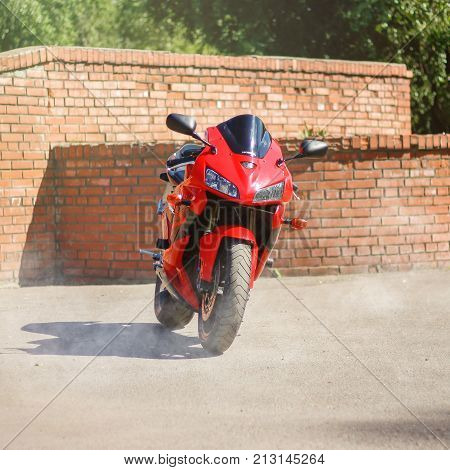 Krasnoyarsk, Russia - June 24, 2017: Red And Black Sportbike Honda Cbr 600 Rr 2005 Pc37