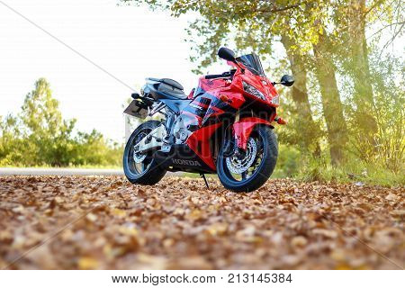 Krasnoyarsk, Russia - September 1, 2017: Red And Black Sportbike Honda Cbr 600 Rr 2005 Pc37. Autumn