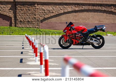 Krasnoyarsk, Russia - May 27, 2017: Red And Black Sportbike Honda Cbr 600 Rr 2005 Pc37