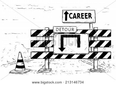 Drawing Of Detour Road Block With Career Sign