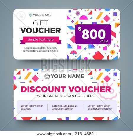 discount voucher template with colorful pattern, cute gift voucher certificate coupon design template, Collection gift certificate business card banner calling card poster, Vector illustration