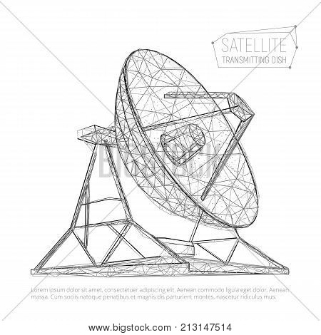 Black Abstract Polygonal Satellite Dish For Space Exploration