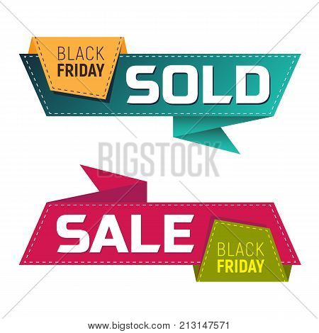 Black Friday Sold And Sale Banners Or Labels For Marketing Promotion