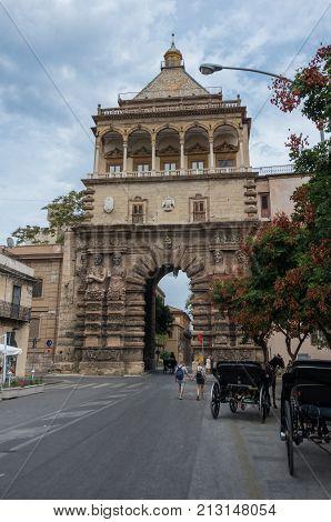 Palermo,  Italy - September 7, 2017: The historic Porta Nuova in Palermo Sicily Italy