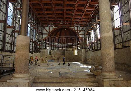 Piazza Armerina, Italy - September 11, 2017: Mosaics in Villa Romana del Casale Piazza Armerina Sicilia Italy UNESCO World Heritage Site. Sicily Italy
