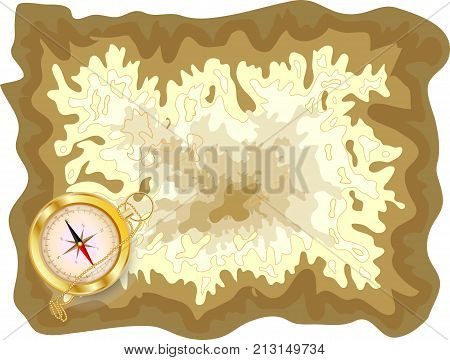 Pirate Old Map On Yellow Parchment With Golden Compass Lying On It, Encrypted Messages