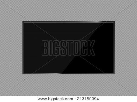 Realistic LCD TV screen. Large computer monitor display