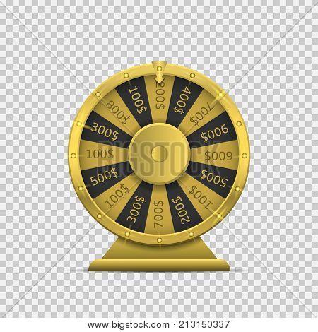 Golden Wheel of fortune. Gambling concept, Vector illustration