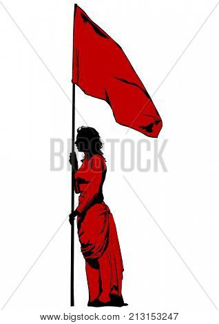 Beauty women with flags on white background