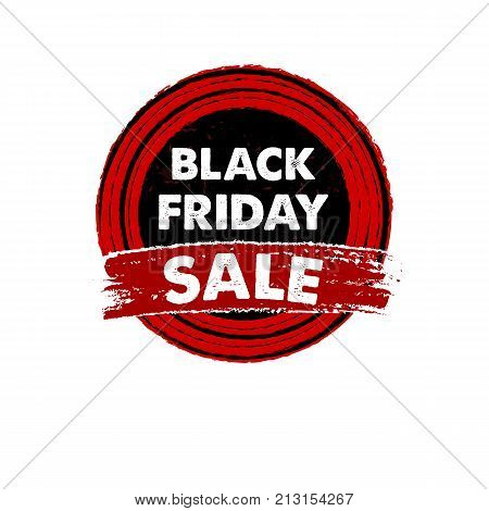 black friday sale banner - text in red black drawn circle label business seasonal shopping concept