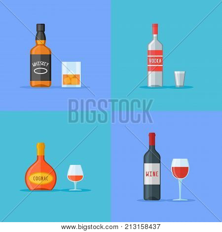 Set of bottles and glasses with alcohol drinks. Whiskey, vodka, cognac and wine. Flat style icons. Vector illustration.