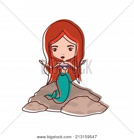 mermaid in a rock in watercolor silhouette vector illustration